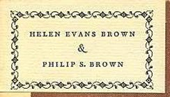 helen evans brown and philip s. brown bookplate