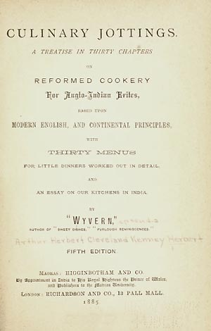 Title page of Culinary Jottings... Wyvern